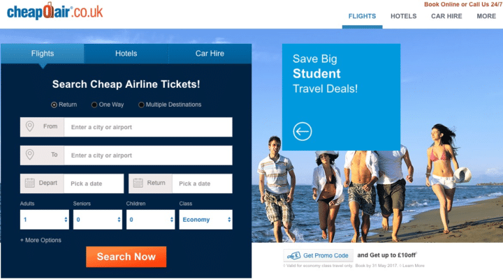 CheapOair book student discount flights to India from UK