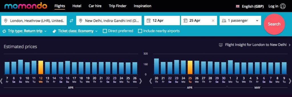 momondo for booking cheap flights to India
