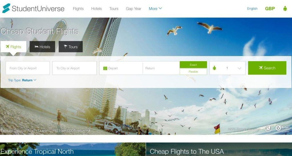 StudentUniverse book cheap student flight tickets to India