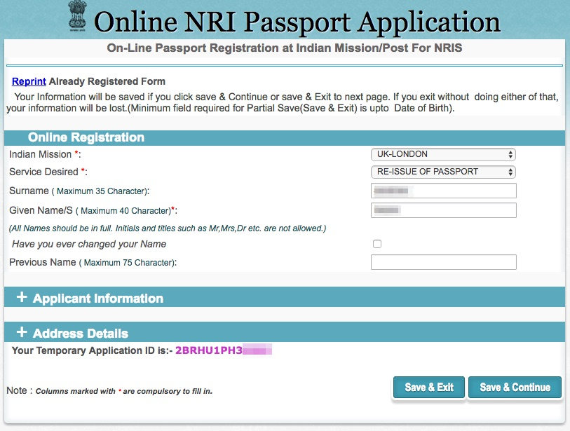 Apply Indian passport renewal in UK - Online Registration Form
