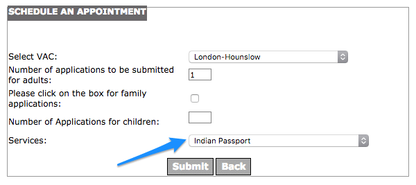 Indian Passport re-issue - Schedule an appointment