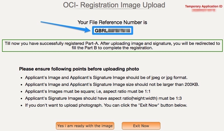 OCI Registration File Reference Number - Part A Successful