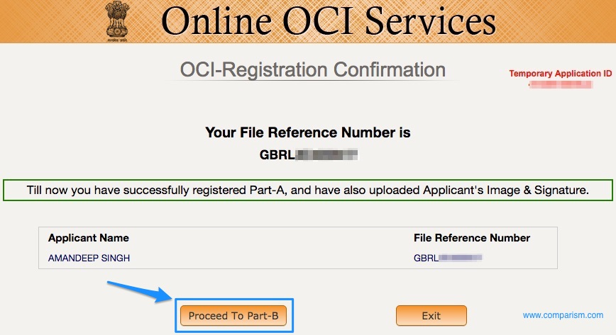 OCI Registration Proceed to Part B [OCI Step 8]