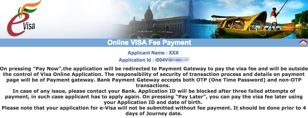 Online evisa fee payment page