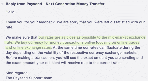 Does Paysend use mid-market exchange rates? Comments by Paysebd support team.