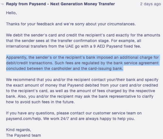 Paysend - additional fees charged by recipient bank comment by support team