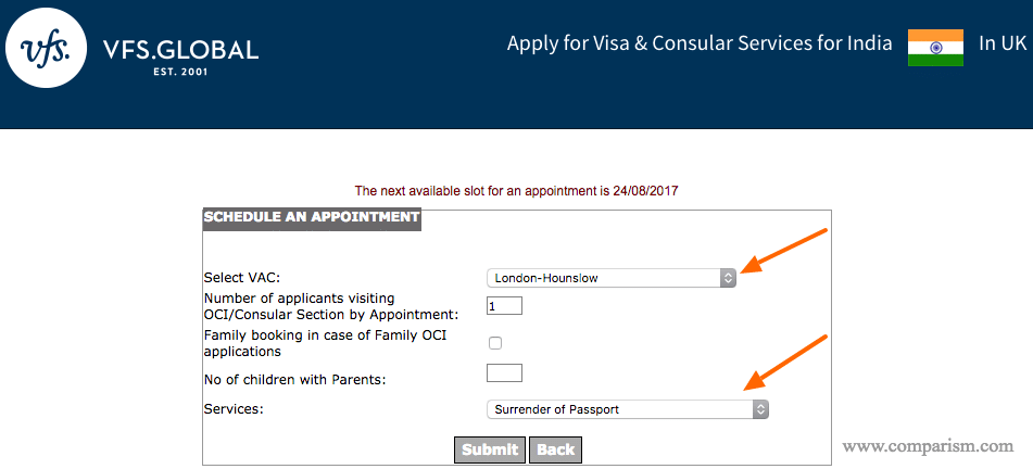 Schedule an appointment - Surrender Indian Passport for Surrender Certificate