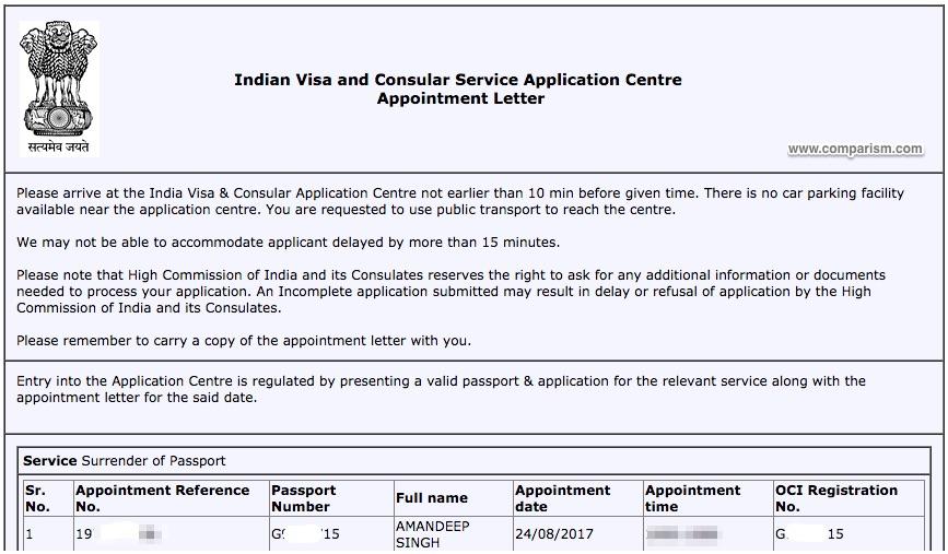 Surrender of Indian Passport - Appointment Confirmation