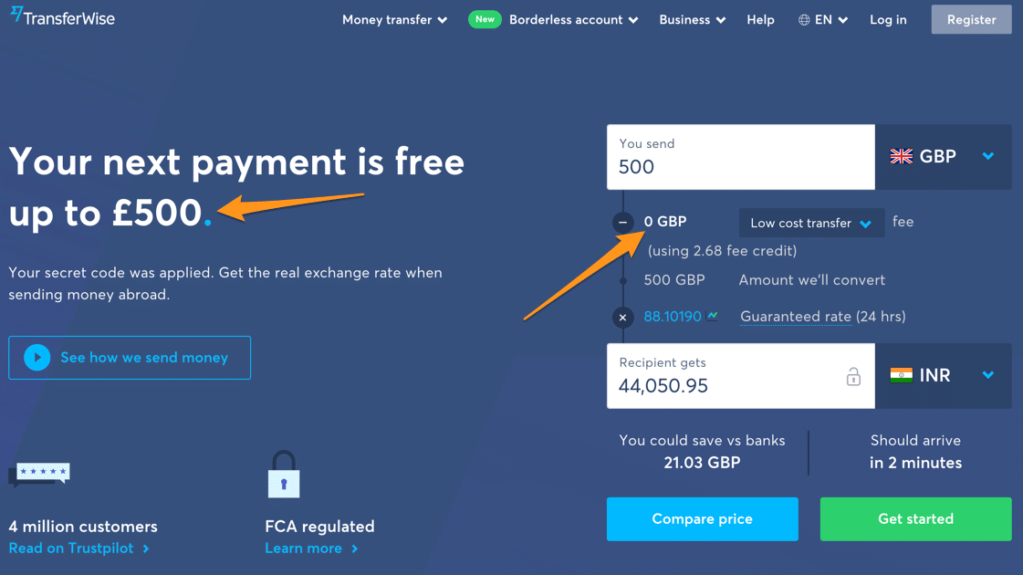 Transferwise Low Cost Money Transfers