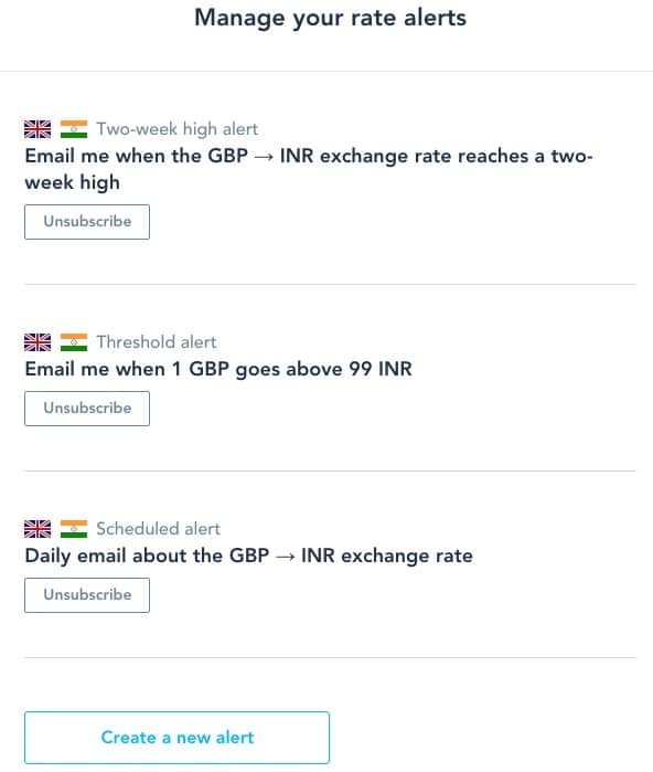 Transferwise GBP to INR Exchange Rate Alerts